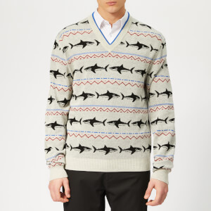 Lanvin Men's Shark Jacquard V Neck Jumper - White/Red