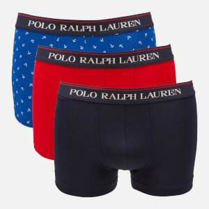 Polo Ralph Lauren Men's 3 Pack Classic Trunk Boxer Shorts - Cruise Navy/Red/Sapphire Star