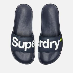 Superdry Men's Pool Slide Sandals - Dark Navy/Optic White/Fluro Lime