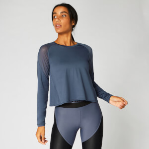 Myprotein Mesh Panel Long Sleeve Top - Dark Indigo