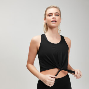 Camiseta corta sin mangas con nudo frontal Essentials Training para mujer de MP - Negro