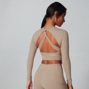 Power Open Back Crop Top - Brown