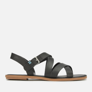 TOMS Women's Sicily Leather Strappy Sandals - Black