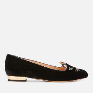 Charlotte Olympia Women's Velvet Kitty Flats - Black/Gold