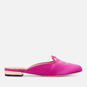 Charlotte Olympia Women's Kitty Satin Mules - Fuchsia/Gold