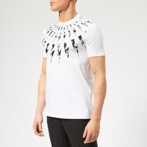 Neil Barrett Men's Fairisle Floral Lightning Bolt T-Shirt - White