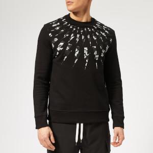 Neil Barrett Men's Fairisle Floral Lightning Bolt Sweatshirt - Black/White