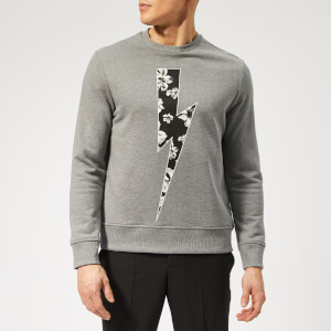Neil Barrett Men's Floral Thunderbolt Sweatshirt - Smoke/Black/White