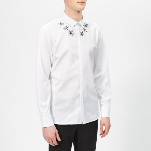 Neil Barrett Men's Collar Flower Shirt - White