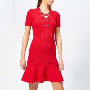 MICHAEL MICHAEL KORS Women's Lace Up Short Sleeve Flare Rib Dress - Scarlet