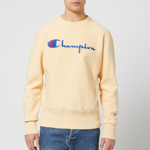 Champion Men's Crew Neck Script Sweatshirt - Beige