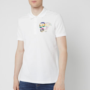 Versace Collection Men's Small Logo Polo Shirt - White Print