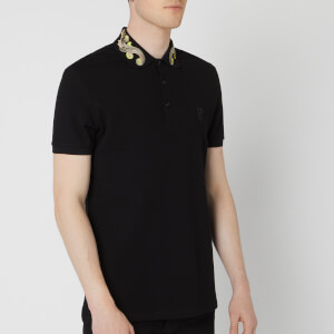 Versace Collection Men's Collar Embroidered Polo Shirt - Black