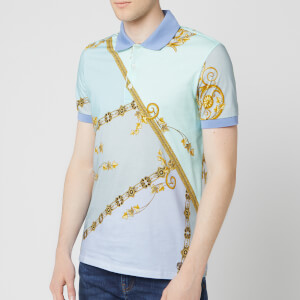 Versace Collection Men's All Over Print Polo Shirt - Blue