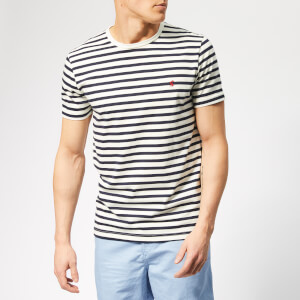 Joules Men's Boathouse T-Shirt - Cream Navy Stripe