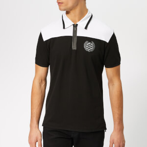 Plein Sport Men's Logos Polo Shirt - Black/Silver