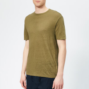 Officine Générale Men's Overdyed Linen Stripe T-Shirt - Burnt Olive