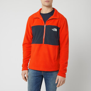 The North Face Men's Blocked TKA 100 1/4 Zip Fleece - Fiery Red/Urban Navy