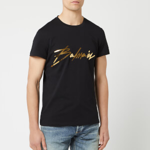 c46d292e7 Balmain Men's Signature T-Shirt - Noir/Or