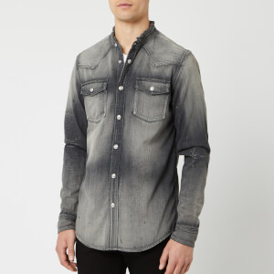 Balmain Men's Embroidered Logo Used Denim Shirt - Gris
