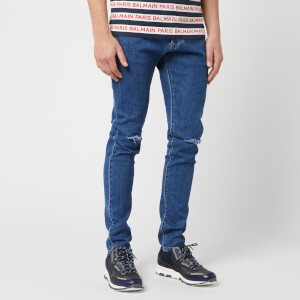 Balmain Men's Embroidery Slim Jeans - Bleu