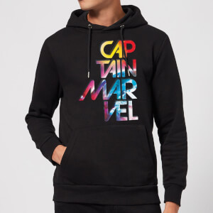 Captain Marvel Galactic Text Hoodie - Black