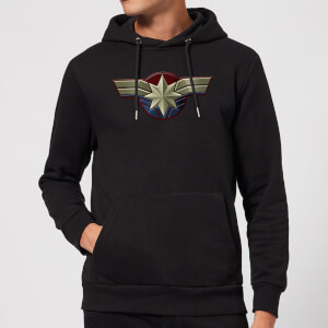 Captain Marvel Chest Emblem Hoodie - Black