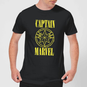 Captain Marvel Grunge Logo Men's T-Shirt - Black