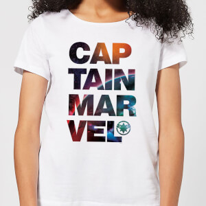 T-Shirt Captain Marvel Space Text - Bianco - Donna