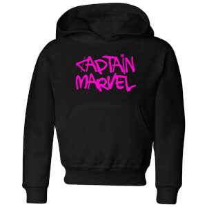 Captain Marvel Spray Text Kids' Hoodie - Black