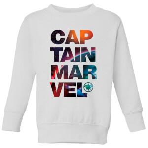 Captain Marvel Space Text Kids' Sweatshirt - White