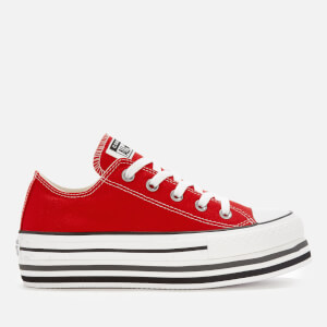 Converse Women's All Star Platform Layer Ox Trainers - Enamel Red/White/Black