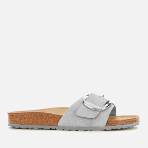 Birkenstock Women's Madrid Big Buckle Suede Slim Fit Sandals - Washed Metallic Blue Silver