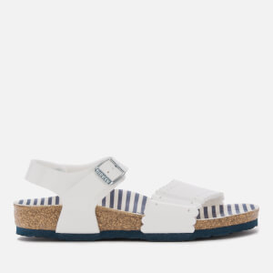 Birkenstock Kids' Risa Slim Fit Patent Double Strap Sandals - Nautical Stripes White