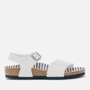 Birkenstock Kids' Risa Slim Fit Patent Double Strap Sandals - Nautical Stripes White