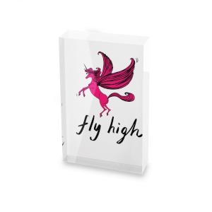 Rock On Ruby Fly High Glass Block - 80mm x 60mm