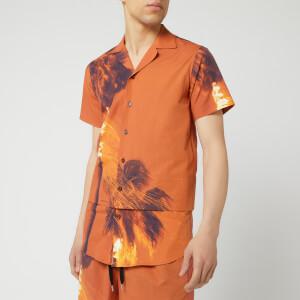 Matthew Miller Men's Palmier Layered Relaxed Collar Shirt - Burning Print