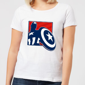 Avengers Assemble Captain America Outline Badge Women's T-Shirt - White