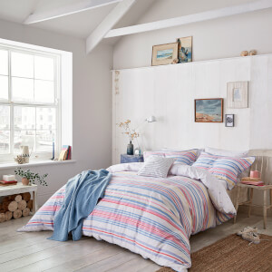 Joules Summer Fruit Stripe Duvet Cover - Pink