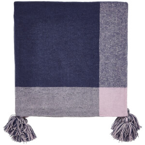 Joules Cottage Garden Border Stripe Throw - Navy