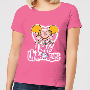 Dexters Lab Dee Dee I Love Unicorns Women's T-Shirt - Pink