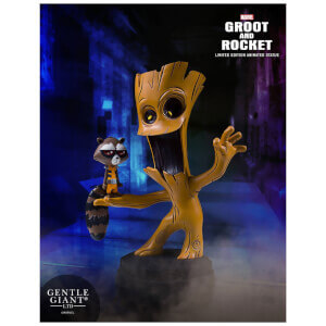 Statuetta animata di Groot & Rocket Raccoon, Guardiani della galassia, Marvel, Gentle Giant - 10 cm