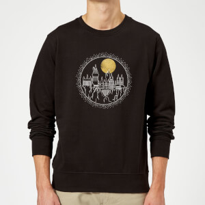 Harry Potter Hogwarts Castle Moon Sweatshirt - Black