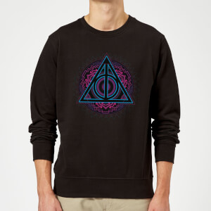 Harry Potter Deathly Hallows Neon Sweatshirt - Black