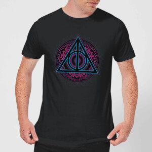 Harry Potter Deathly Hallows Neon Men's T-Shirt - Black