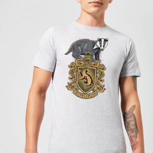 Harry Potter Hufflepuff Drawn Crest Men's T-Shirt - Grey
