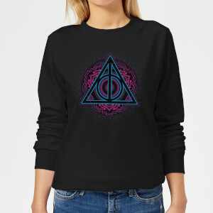 Felpa Harry Potter Deathly Hallows Neon - Nero - Donna