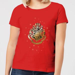 Harry Potter Star Hogwarts Gold Crest Women's T-Shirt - Red