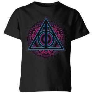 Harry Potter Deathly Hallows Neon Kids' T-Shirt - Black