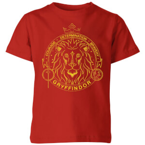 T-Shirt Harry Potter Grifondoro Lion Badge - Rosso - Bambini